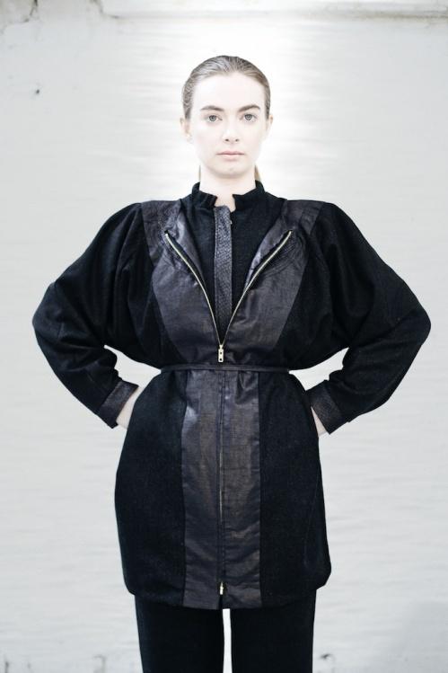 Irish wool Bomber jacket with salmon leather finish, Irish wool Raglan sleeve coat with Beetle finished linen and salmon leather detail, Black Irish wool Islander pants